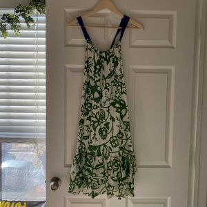 GAP Floral Green Tan Blue Dress with Tie - Size XS